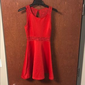 Red forever 21 partial lace dress